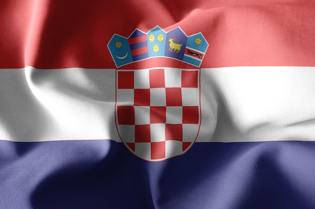 3d che rende realistica la bandiera di seta d'ondeggiamento della croazia