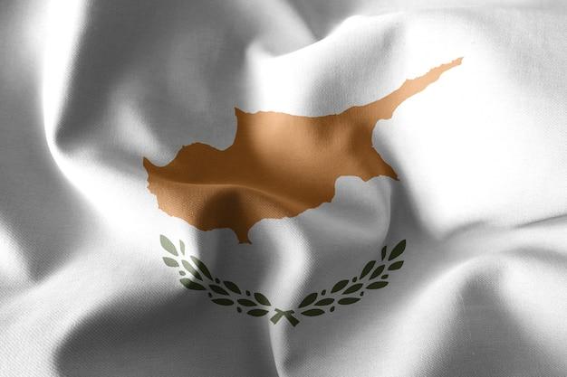 3d che rende realistica la bandiera di seta d'ondeggiamento di cipro
