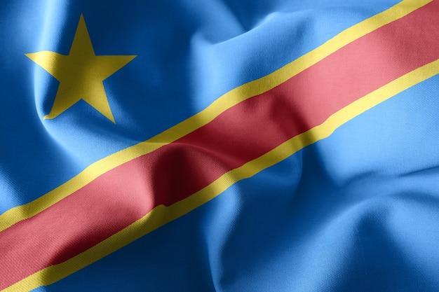 3d che rende realistica la bandiera di seta d'ondeggiamento della repubblica democratica del congo