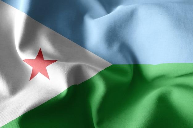 3d che rende realistica la bandiera di seta d'ondeggiamento del gibuti