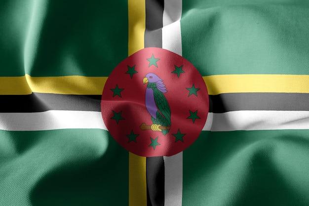3d rendering realistico sventolando la bandiera di seta della dominica