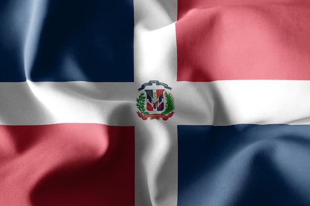 3d che rende realistica la bandiera di seta sventolante della repubblica dominicana