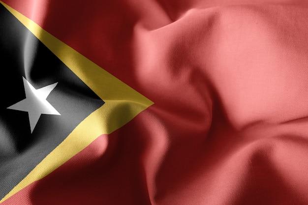 3d che rende realistica la bandiera di seta sventolante di timor est
