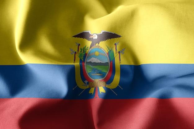3d che rende realistica la bandiera di seta sventolante dell'ecuador