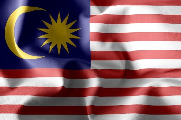 3d che rende realistica la bandiera di seta sventolante della malesia
