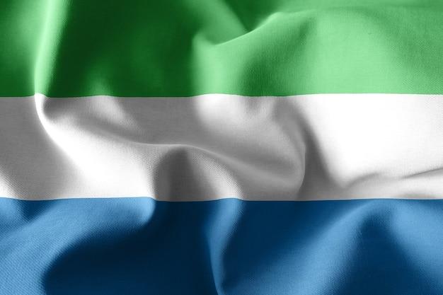 3d che rende realistica la bandiera di seta sventolante della sierra leone