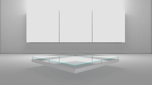 Rendering 3d del podio di rettangolo per prodotto spettacolo