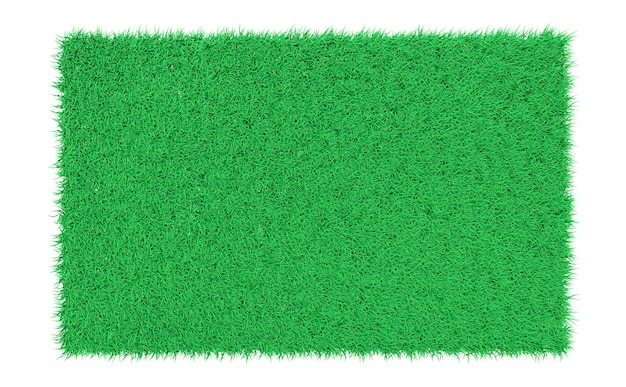 3d rendering rettangolare prato verde su sfondo bianco