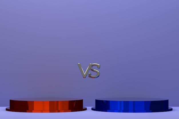 Podio rosso e blu della rappresentazione 3d, per il concetto di battaglia su fondo astratto