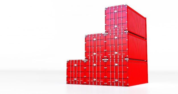Rappresentazione 3d del contenitore di carico rosso isolato su fondo bianco. scatola per container da nave mercantile per importazione ed esportazione,