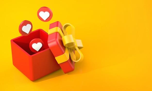 Rendering 3d di confezione regalo rossa con reazioni d'amore