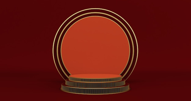 Rendering 3d del piedistallo rosso e oro isolato sulla parete nera, minimalista di lusso