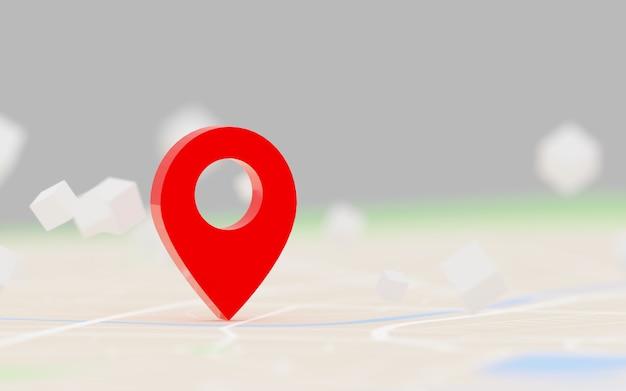 3d rendering gps rosso del punto di destinazione sulla mappa