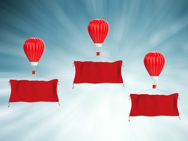 3d rendering mongolfiera rossa con banner di stoffa rossa