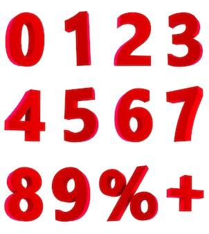 Rendering 3d di numeri rossi 1 2 3 4 5 6 7 8 9 0% + su sfondo bianco