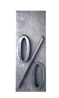 Rendering 3d di un segno di percentuale rosso in stampa dattiloscritto metallica