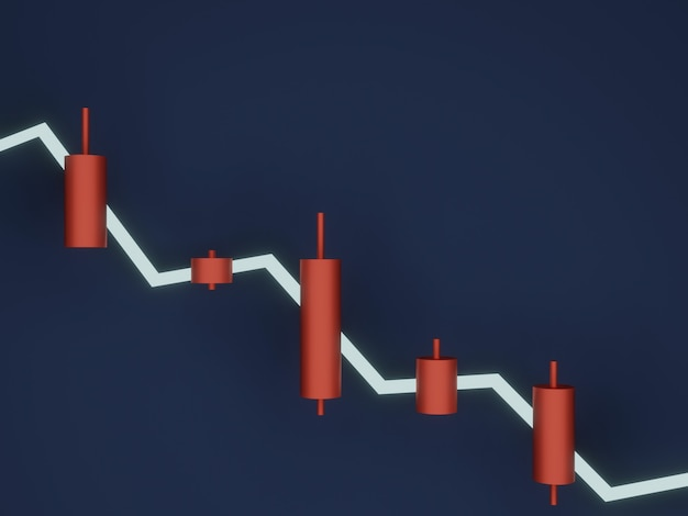 Rendering 3d. candeliere stock rosso. vendi segnale.