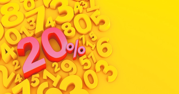 Rendering 3d di un venti per cento rosso su sfondo giallo con numeri. vendita di offerte speciali. lo sconto con il prezzo è del 20%.