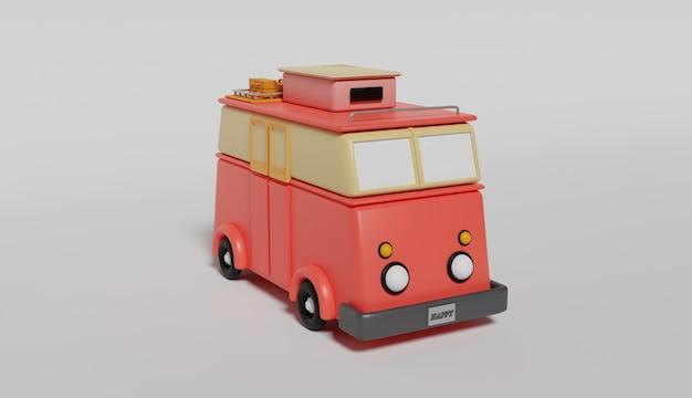 Rendering 3d di un furgone rosso