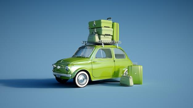 Rendering 3d di un'auto retrò con un mucchio di bagagli sul portapacchi