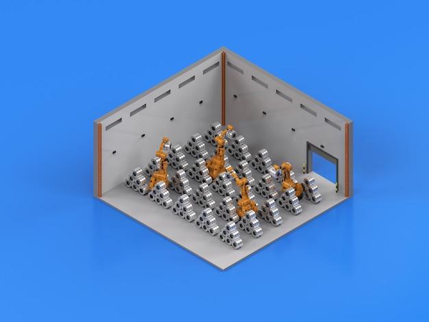 Braccio del robot di rendering 3d che lavora con acciaio a rulli isometrico