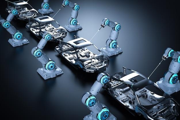 3d rendering linea di montaggio del robot nella fabbrica di automobili su sfondo nero