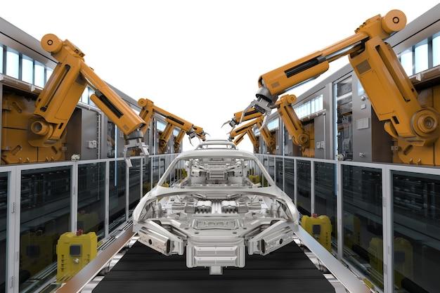 3d rendering catena di montaggio del robot nella fabbrica di automobili