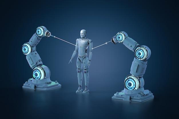Cyborg di produzione della catena di montaggio del robot di rendering 3d