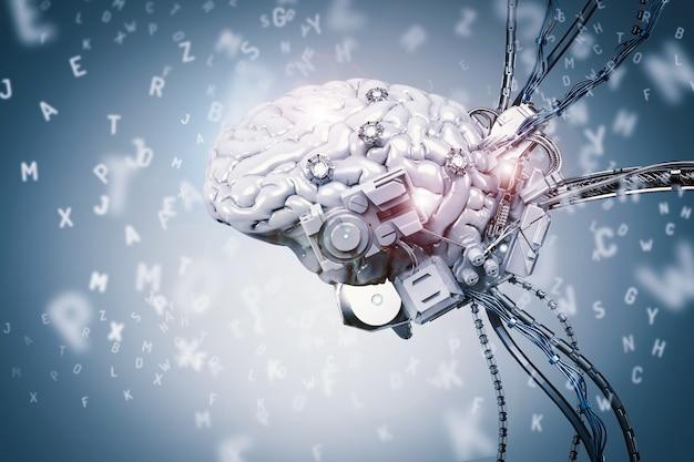 3d rendering robot cervello apprendimento su sfondo blu