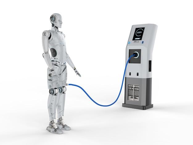 Carica del robot di rendering 3d con stazione di ricarica elettrica