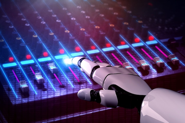 Rendering 3d robot disc jockey mano al mixer dj vista ravvicinata in discoteca durante la festa