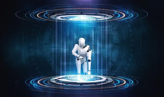 Rendering 3d robot umanoide nel mondo fantasy di fantascienza