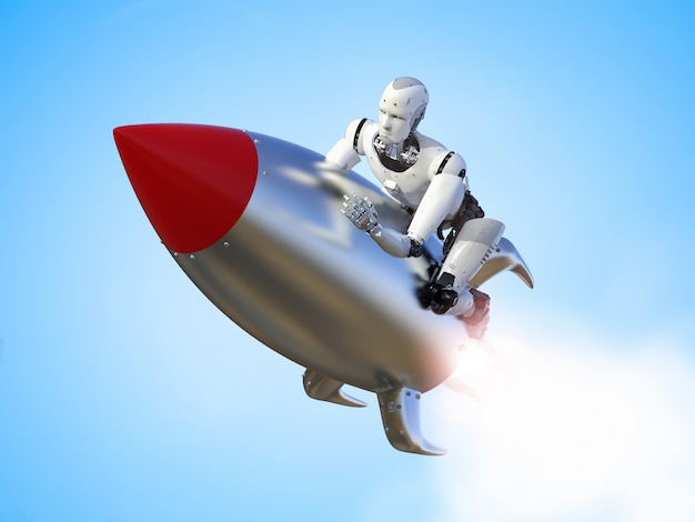 Robot di rendering 3d in sella a una navetta spaziale con velocità
