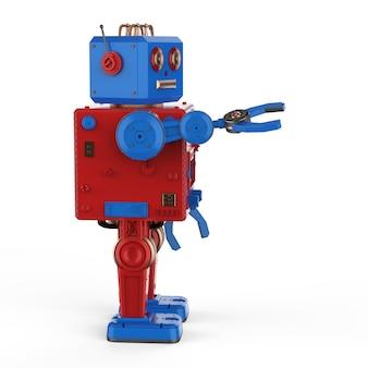 3d rendering robot giocattolo stagno mano estendere su sfondo bianco