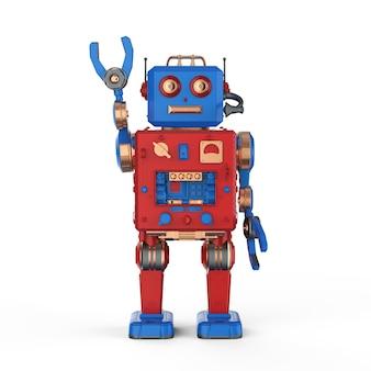 3d rendering robot giocattolo di stagno mano in alto su sfondo bianco