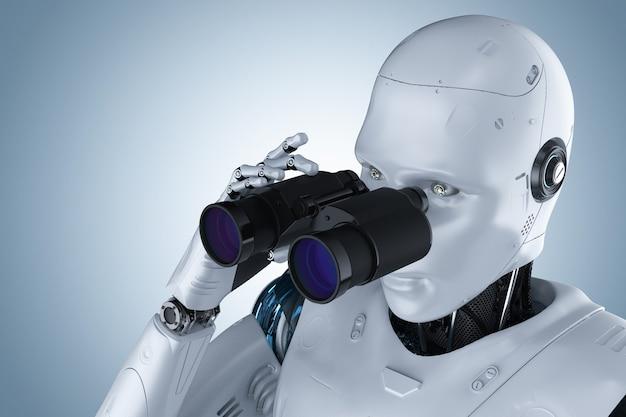 Robot di rendering 3d con binocolo su sfondo blu