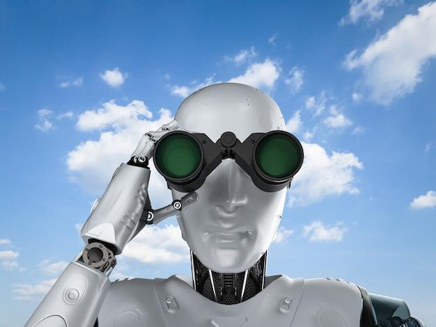 Robot di rendering 3d con binocolo sullo sfondo del cielo blu