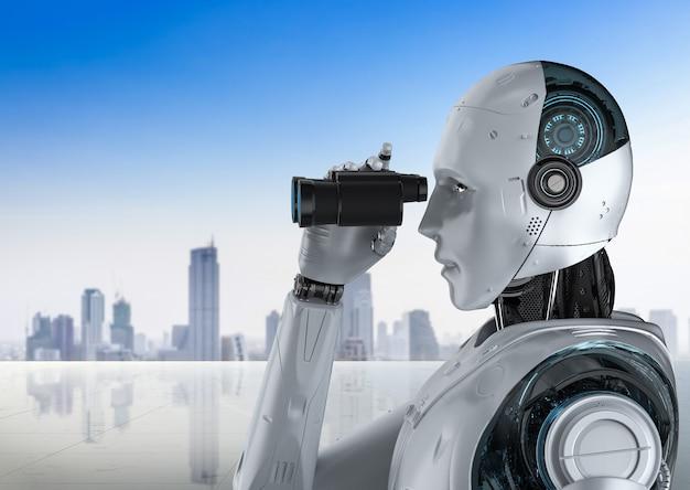 Robot di rendering 3d con binocolo sullo sfondo del paesaggio urbano