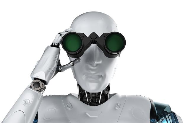 Robot di rendering 3d con binocolo su sfondo bianco