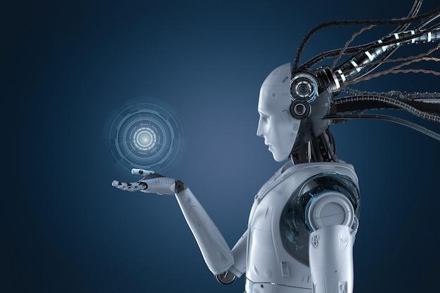 Robot di rendering 3d che lavora con hud o display grafico