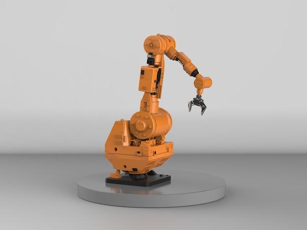 3d rendering braccio robotico su sfondo grigio
