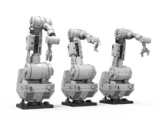 3d rendering braccio robotico su sfondo bianco