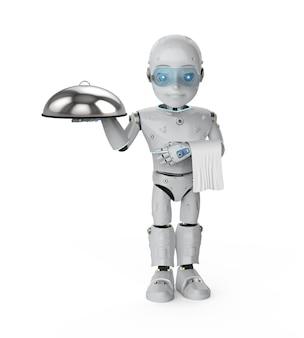 3d rendering assistente robotico o robot cameriere tenere vassoio metallico