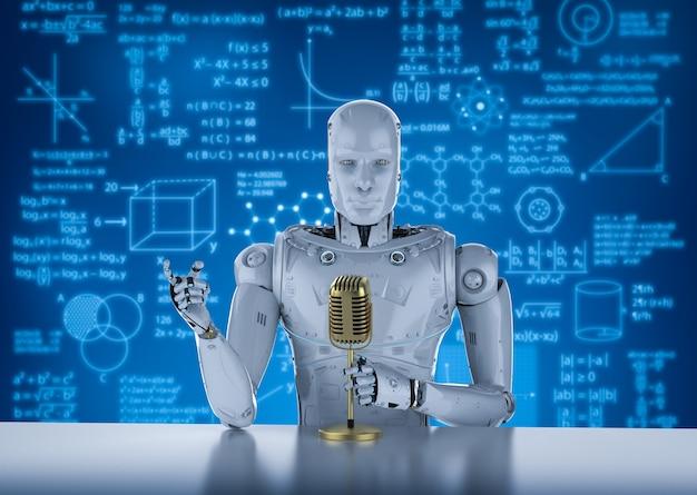 Rendering 3d di un altoparlante pubblico robotico che parla con il microfono
