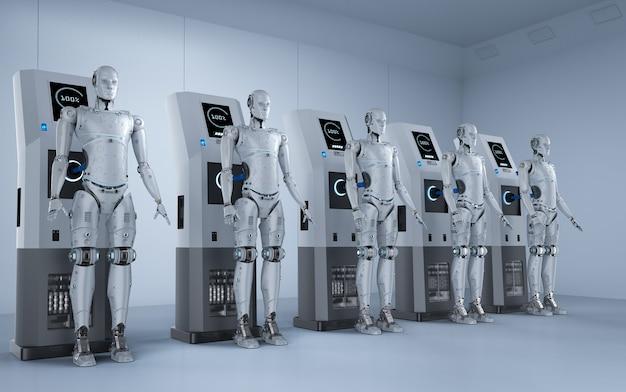 I robot di rendering 3d si caricano con la stazione di ricarica elettrica