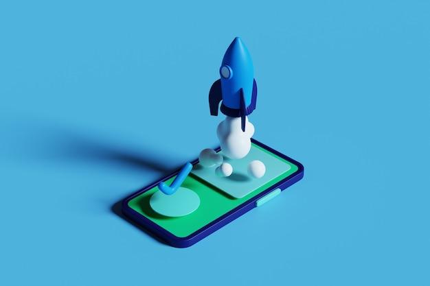 Rendering 3d lancio di un razzo nell'illustrazione dello schermo del telefono