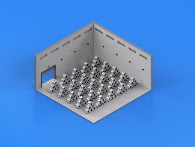 3d rendering rotolo di lamiera di acciaio in fabbrica isometrica