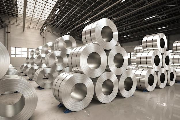 Rendering 3d rotolo di lamiera di acciaio in fabbrica