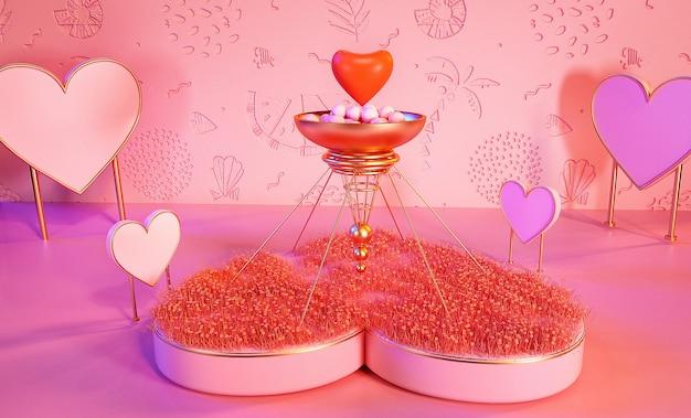 Rendering 3d di sfondo romantico con cuore per la visualizzazione del prodotto
