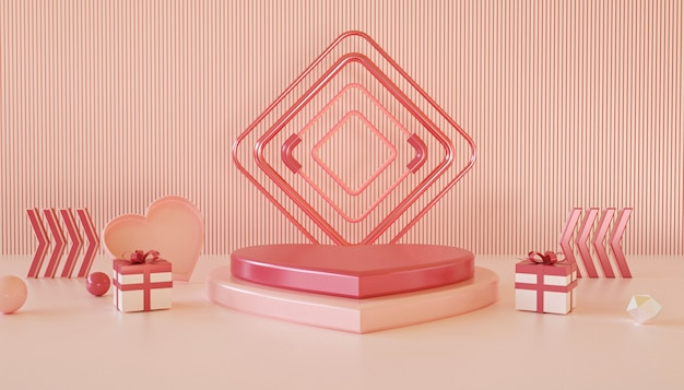 Rendering 3d di sfondo romantico con podio d'amore per la visualizzazione del prodotto